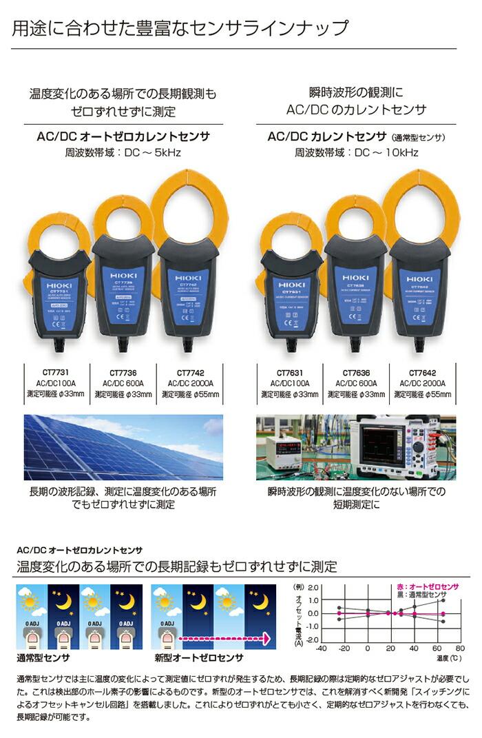 日置電機 HIOKI 直流電流も入力可能な電流センサ 600A φ33mm AC/DCオートゼロカレントセンサ CT7731/