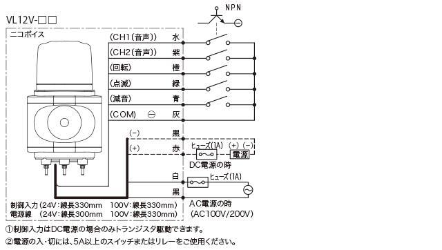 日恵製作所(NIKKEI) VL12V-100AY/J2 【黄】 ニコボイスφ120(音声合成報知器人感センサー付) AC100V