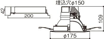 XNDN2568PN LE9 (NDN22600+NNK25001N LE9) パナソニック マルミナLEDダウンライト(昼白色)<パネル付型> 250形 埋込穴Φ150