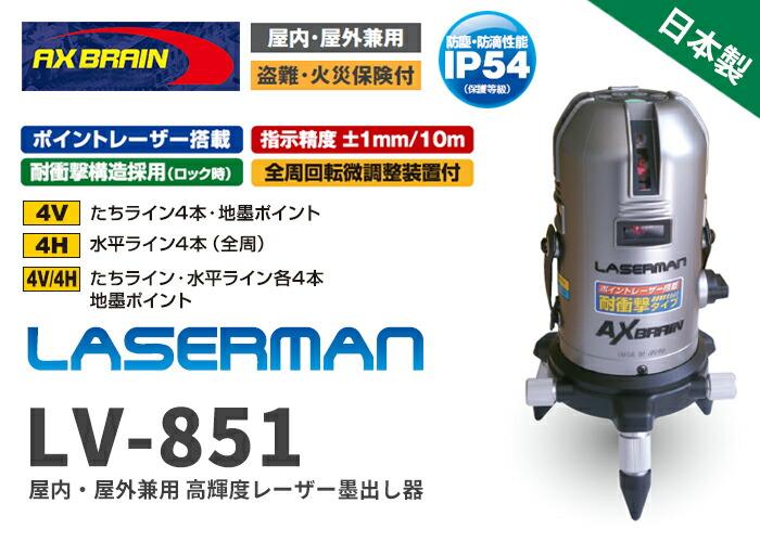 屋内・屋外兼用 高輝度レーザー墨出し器 LV-851
