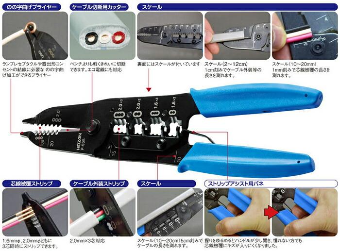ホーザン 第二種電気工事士技能試験対応 VVFストリッパー P-958