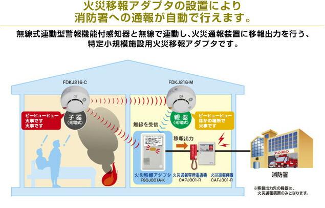 能美防災 自動試験機能付、連動型、蓄積式 無線式(発信用・受信用)光電式(煙式)スポット型感知器 親器 FDKJ216-M
