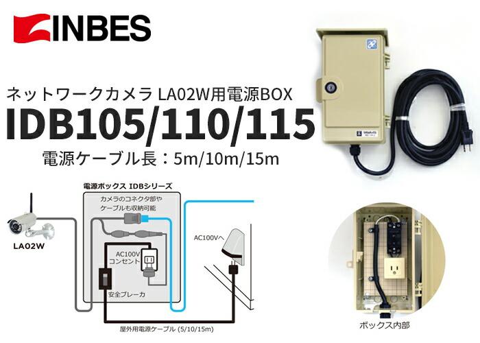 INBES ネットワークカメラLA02W用電源BOX 電源ケーブル長:5m IDB105