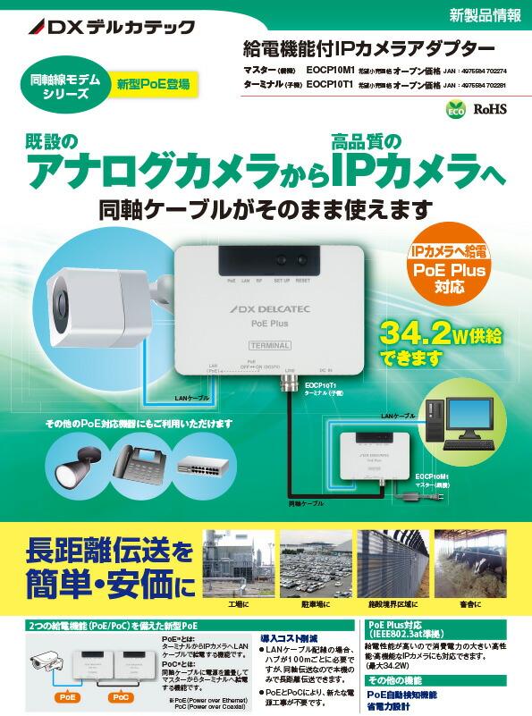 デルカテック/ 給電機能付IPカメラアダプター/ DXアンテナ PoE対応/ 親機 EOCP10M1