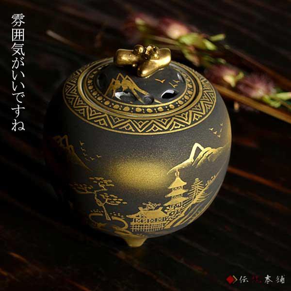 【九谷焼】3.5号香炉 ダマシン山水