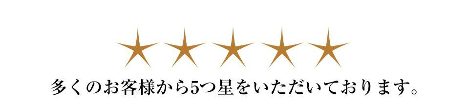 多くのお客様から5つ星
