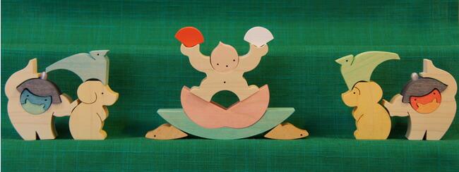 小黒三郎/組み木の五月人形/楕円武者三段飾り(特製垂幕)