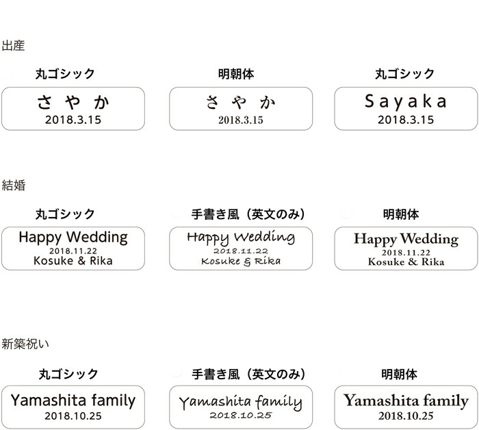 kicori/ネームプレート例