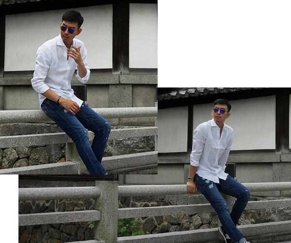 白シャツで爽やかに