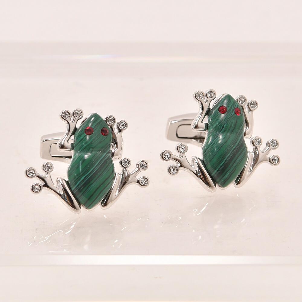 専門店 スワロフスキー 送料無料 マラカイト 孔雀石 SIMON CARTER イギリス製 カエル型 カフリンクス カフス サイモンカーター OZIE グリーンxシルバー Darwin Frog カフスボタン