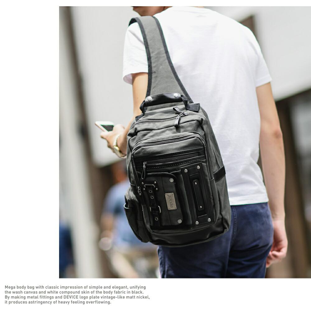 ボディバッグ,メガボディ,デバイス,メンズ,A4対応,iPad,B5,ウォッシュ帆布,白化合皮,アウトドア,フォルマ,通勤,通学,ブランド,ミリタリー