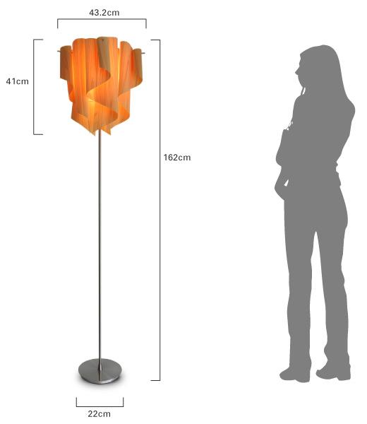 アウロ ウッド フロアランプ 大きさ比較