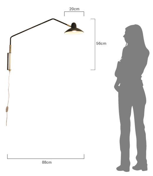 アルル ウォールランプ  商品のサイズ