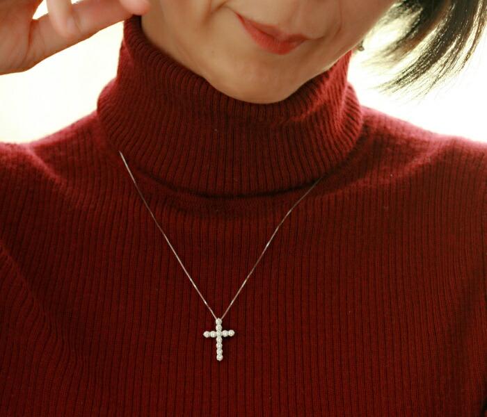 プラチナ900 ダイヤモンド専門店☆THJ極上-elevenクロスネックレス D1.0ctmodel4