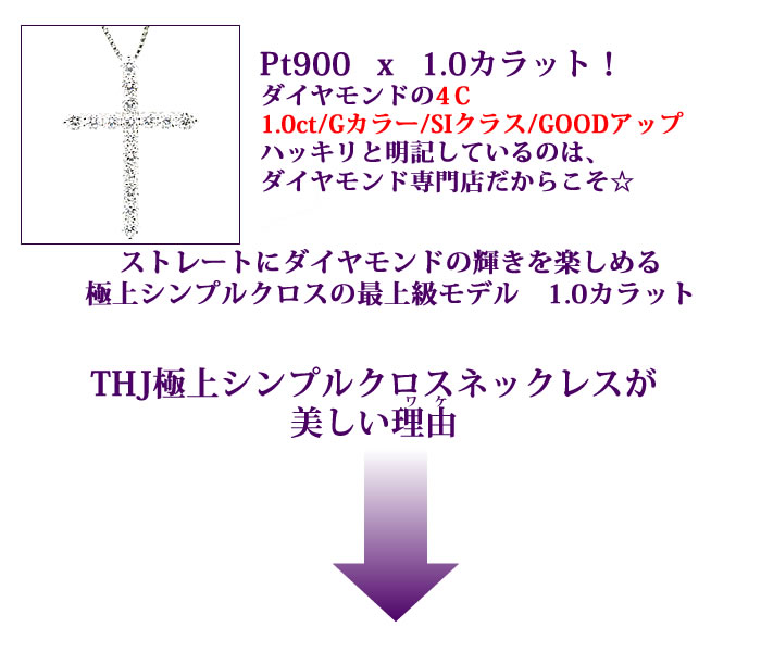 プラチナ900無色透明Gカラー/SIクラス/GoodUPダイヤモンドストレートにダイヤモンドの輝きを楽しめる極上シンプルクロスの最上級モデル 1.0カラット  THJ極上シンプルクロスネックレスが美しい理由 Pt900THJ極上クロスネックレスD1.0cte ダイヤモンド専門店THJ
