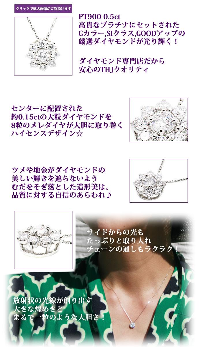 Pt900THJ SUN~太陽ネックレスD0.5cteダイヤモンド専門店THJ