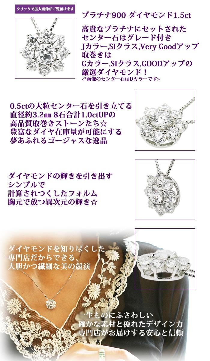 Pt900THJ SUN〜太陽ネックレスD1.5cte2ダイヤモンド専門店THJ