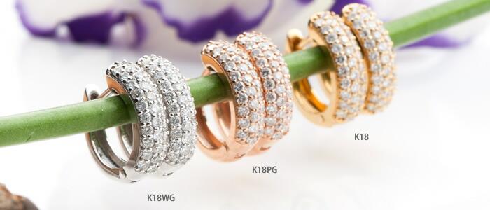K18WG ダイヤモンド 中折れ式パヴェピアス D0.3ct