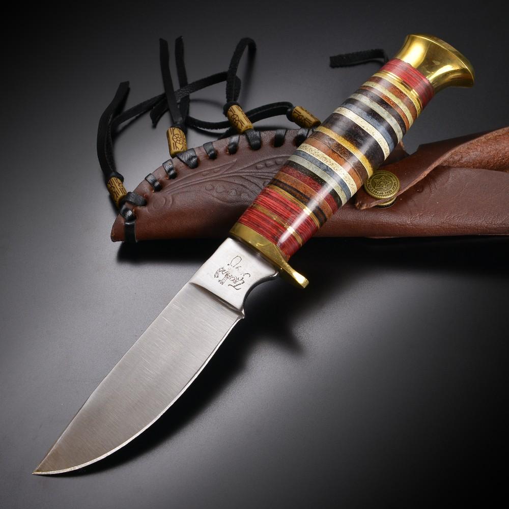 スキナーナイフ スタックレザー 直刃 ステンレス サテン仕上