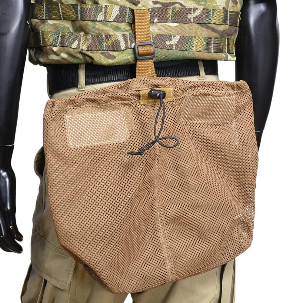 イギリス軍放出品 ヘルメットバッグ メッシュ素材 コヨーテブラウン