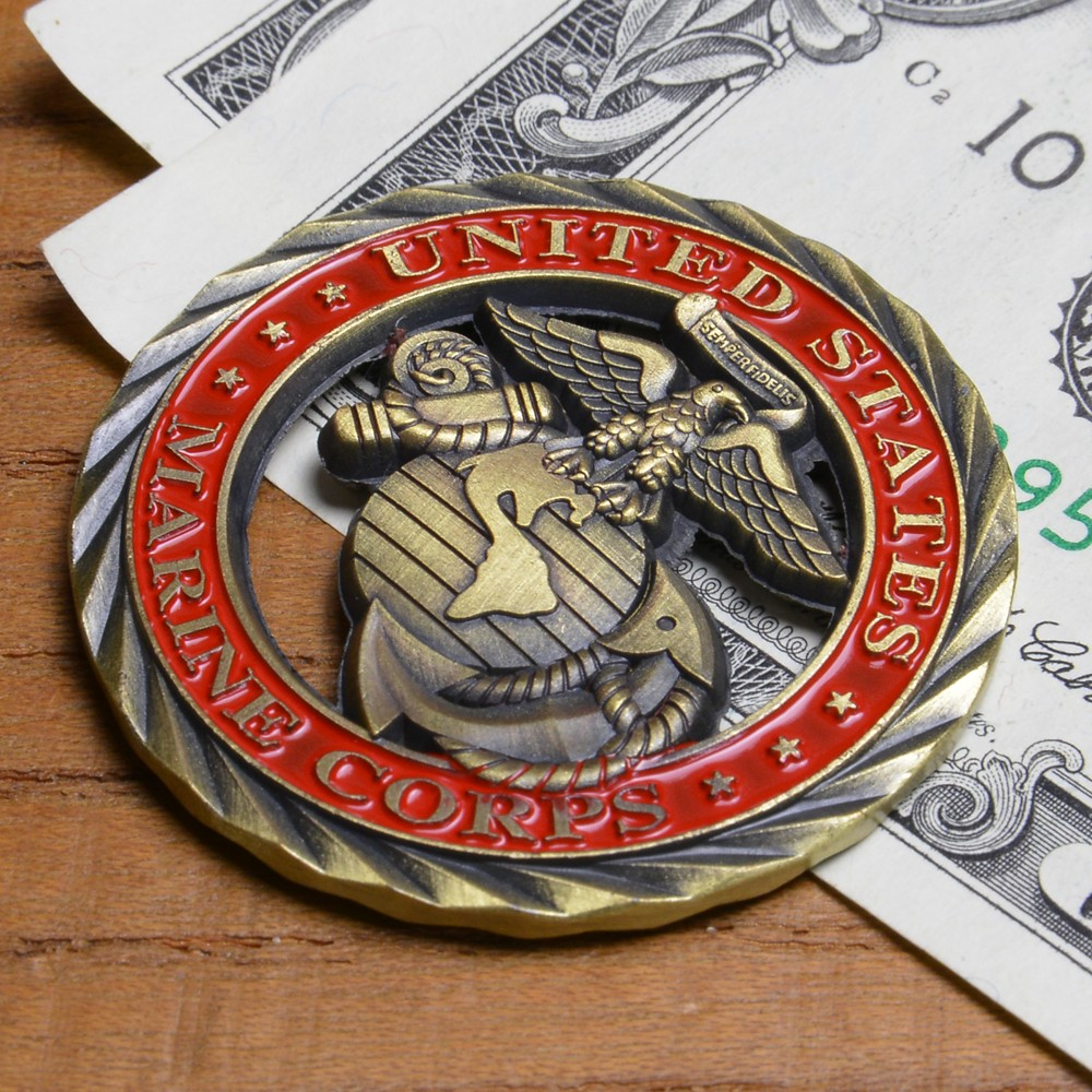 With challenge coin crest United States Marine Corps memory medal Challenge  Coin memory coin USMC emblem zinc alloy sculpture circle transparence case