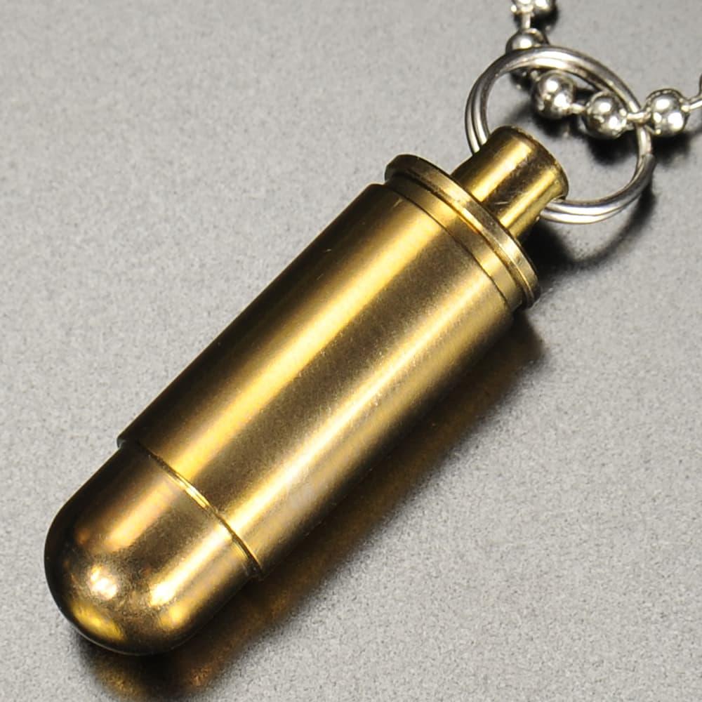 防水カプセル 弾丸型 チタン合金製 ボールチェーン付