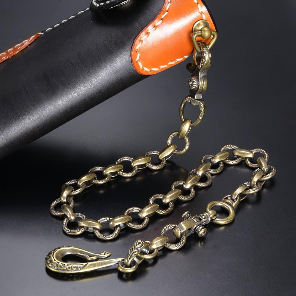 ウォレットチェーン 真鍮製 彫り込み模様 釣り針フック ナスカン 55.5cm
