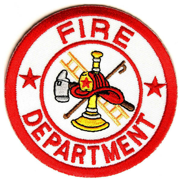 Reptile Emblem FIRE DEPT Red White Round Fire Department