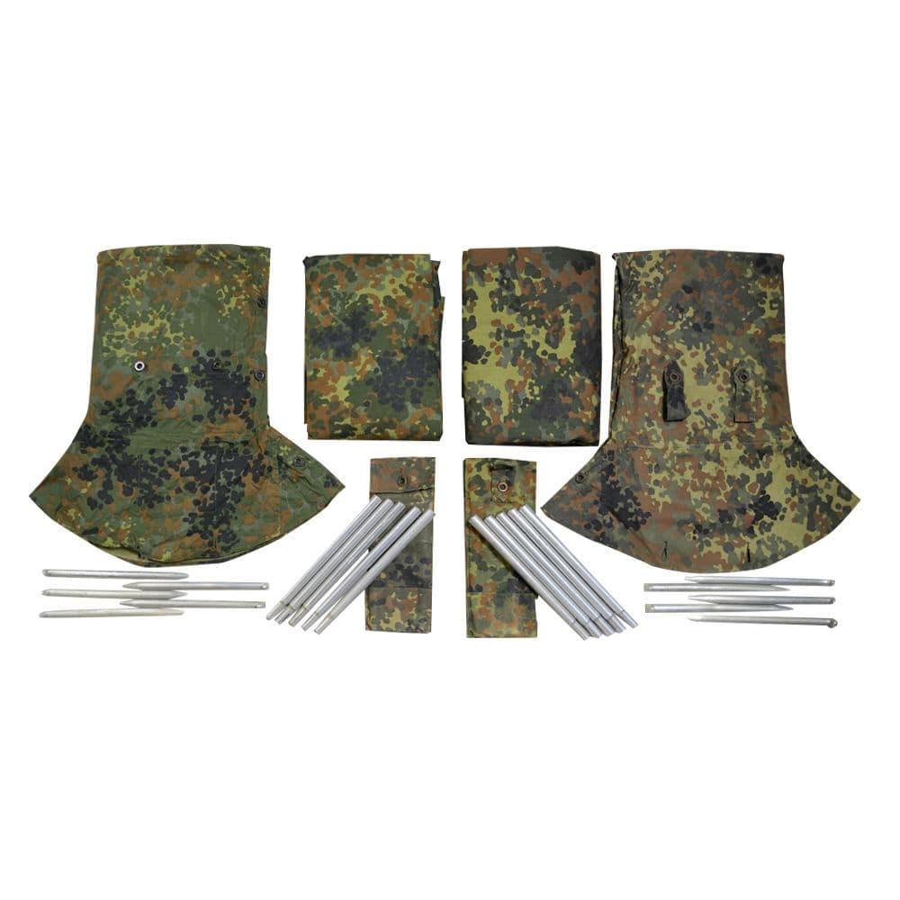 ドイツ軍放出品 テントセット 軍幕 フレックターン迷彩柄 ポンチョ