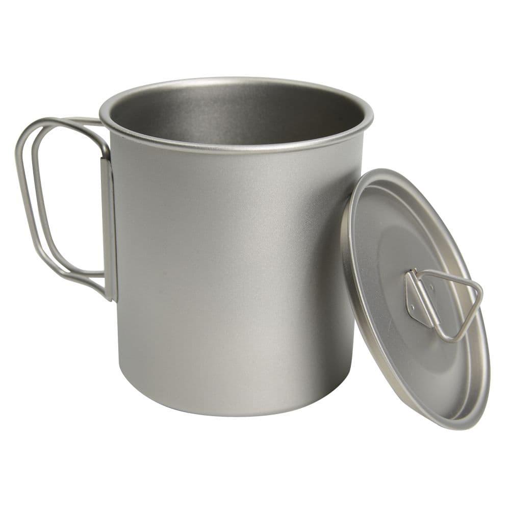 マグカップ 450ml チタン製 シングルマグ 蓋付きマグカップ 収納袋付き