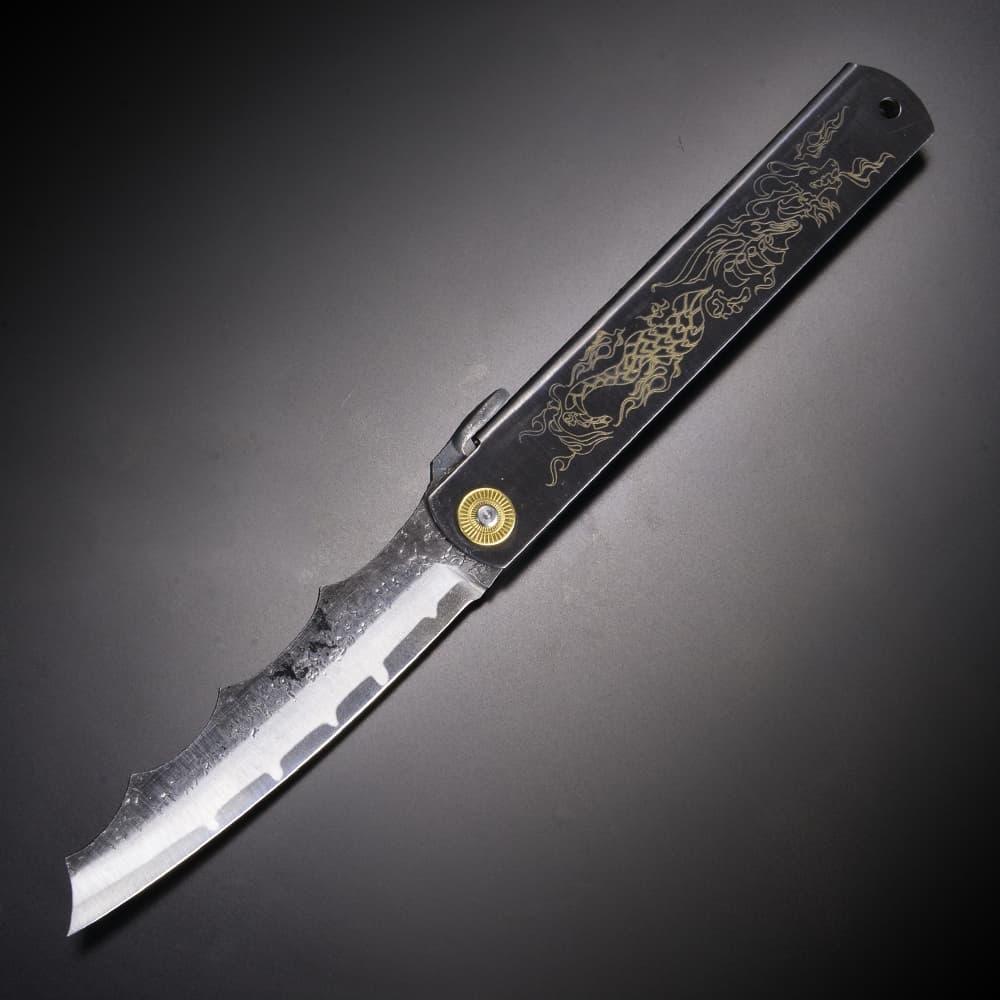 肥後守定 和式ナイフ 折りたたみ 龍舞 刻印抜き