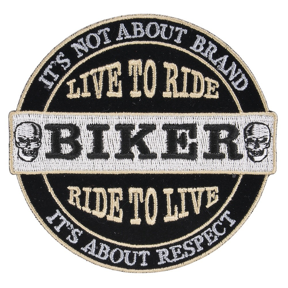 Biker Patch Embroidered Skull On Both Sides Of The Central BIKER Character Design