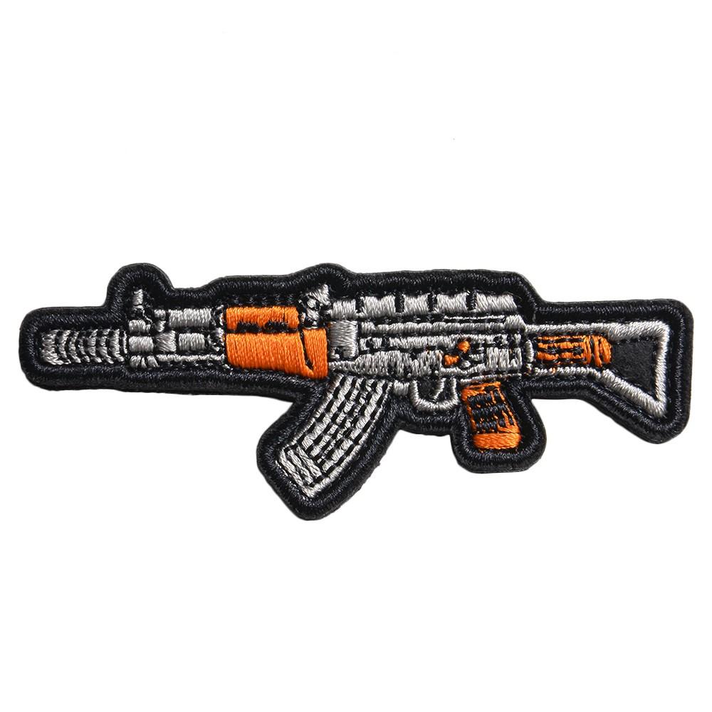 ミリタリーワッペン AK-47カスタム ライフル 刺繍 ベルクロ