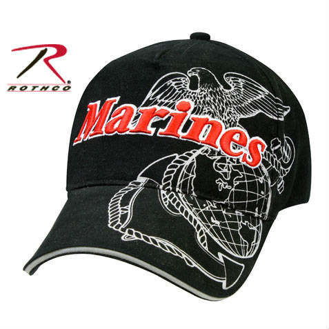 f344d92b14 Rothco military branded Baseball Cap. Marines with the USMC (United States Marine  Corps) logo print embroidery decorated reception area.