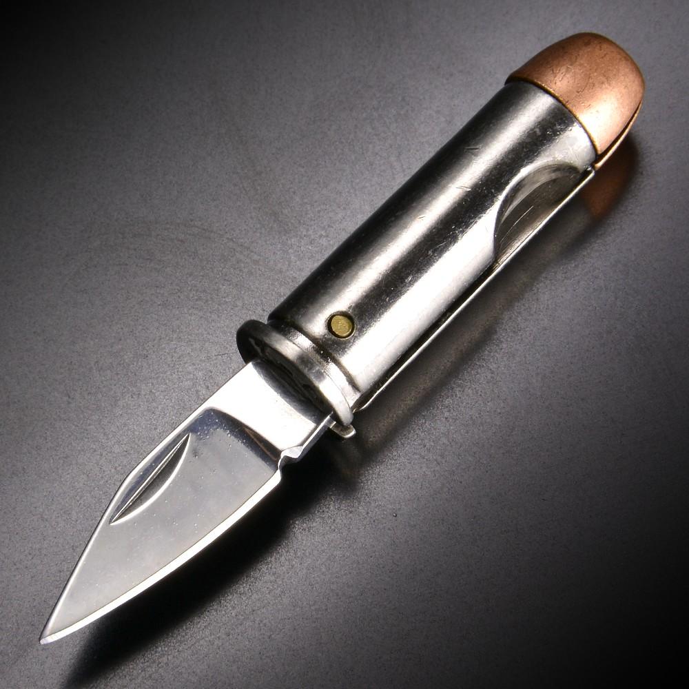 ピストル弾型 折りたたみナイフ 44マグナム弾 シルバー