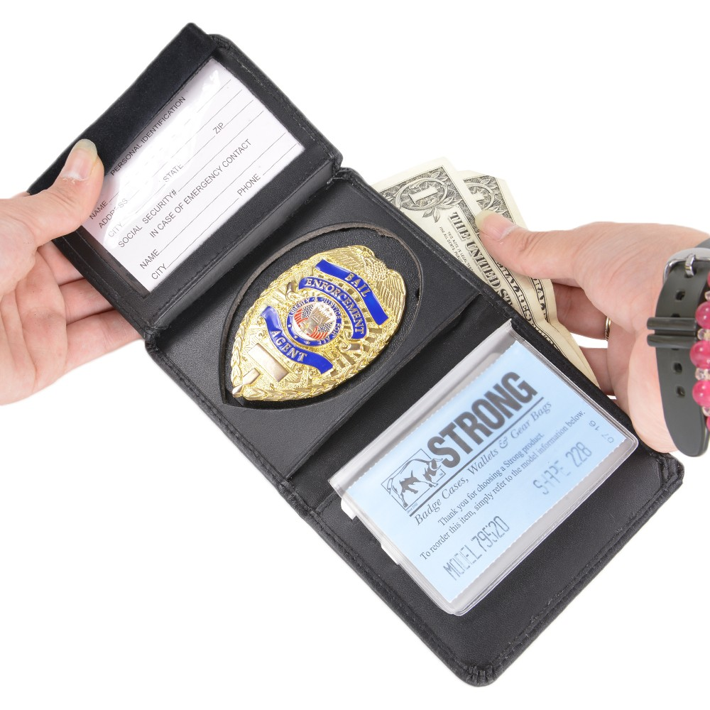 Strong ID & Police badge holder 79520 [-228 (large shield) shield type] ID  card & Police badge holder shield type (shield) ID holder name wallet