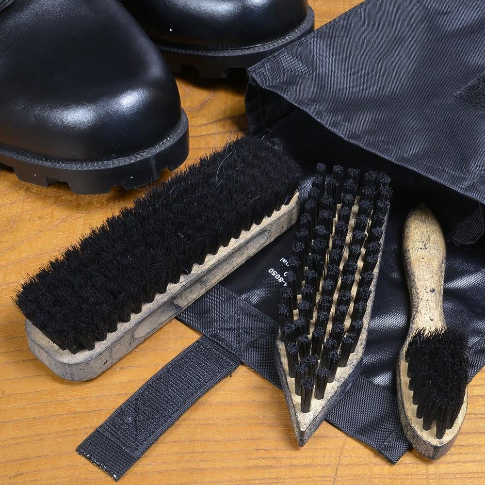 ドイツ軍放出品 ブラシセット シューズクリーニング用 ナイロンバッグ付き