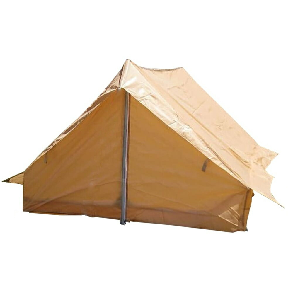 フランス軍放出品 F1テント 2人用 カーキ 軍幕 ナイロン生地 蚊帳有 片側入り口