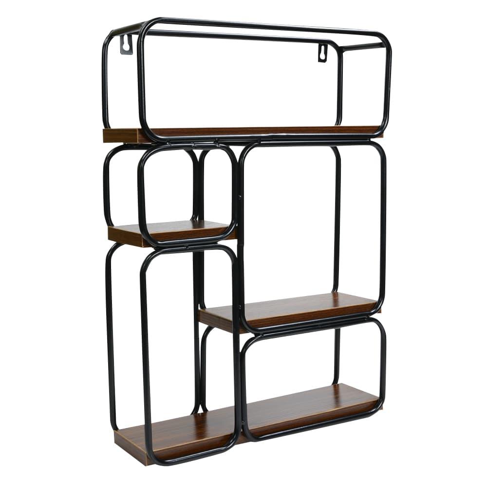 壁掛け棚 メタルフレーム 木製棚板 ウォールシェルフ 段違い棚 収納用品