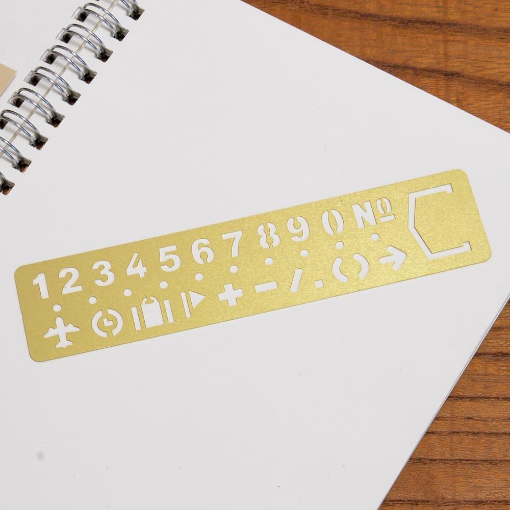 ステンシルシート 真鍮製 テンプレート 数字 記号