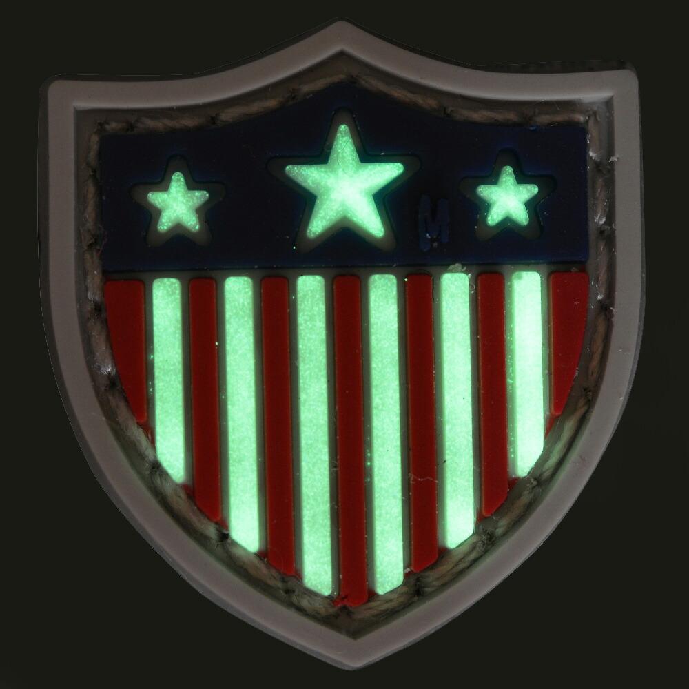 MAXPEDITION ミリタリーパッチ 星条旗 シールド型 蓄光 ベルクロ