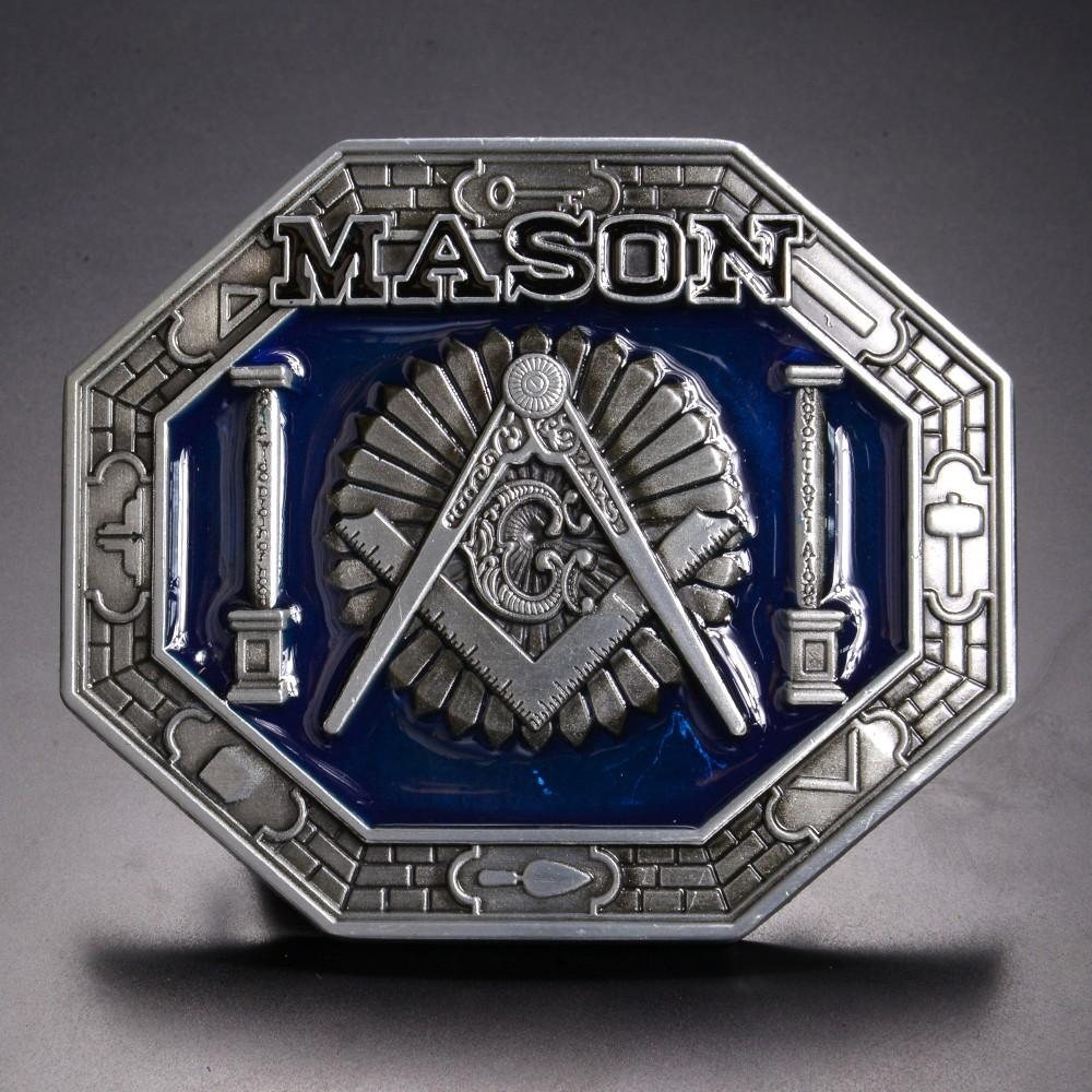 ベルトバックル メイソン 八角形 ブルー