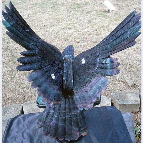 レインボーフローライトイーグルon大型アメジストハートクラスターK.Angel(プロフェッショナル仕様)巨大なアメジストハートの上に降臨したフローライトの鷲の象【ホールセール価格】