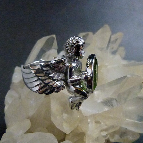 AAAグレード 天然ペリドット大粒マーキスカット宝石を抱えるガーディアンエンジェルリング(ロジウム加工、スターリングシルバー) ハンドクラフト一点もの 天使の指輪、ジュエリー、アクセサリー