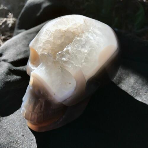 スカル水晶ドゥルージークラスター アゲートクリスタル髑髏 瑪瑙ドクロ