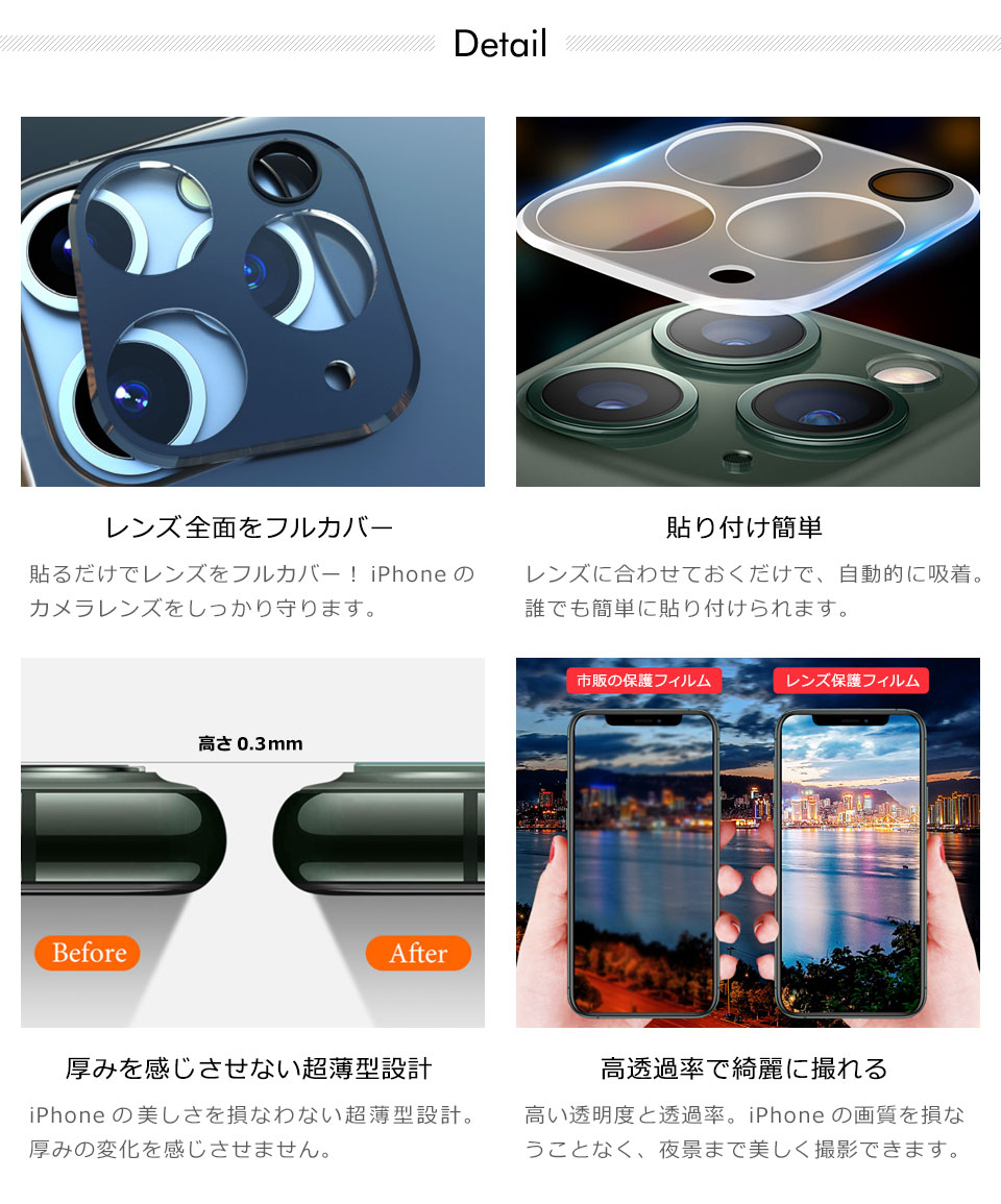 iPhone11シリーズカメラレンズ保護フィルム