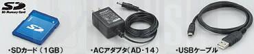 R16 付属アクセサリ: SDカード (1GB)、ACアダプタ(AD-14)、USBケーブル