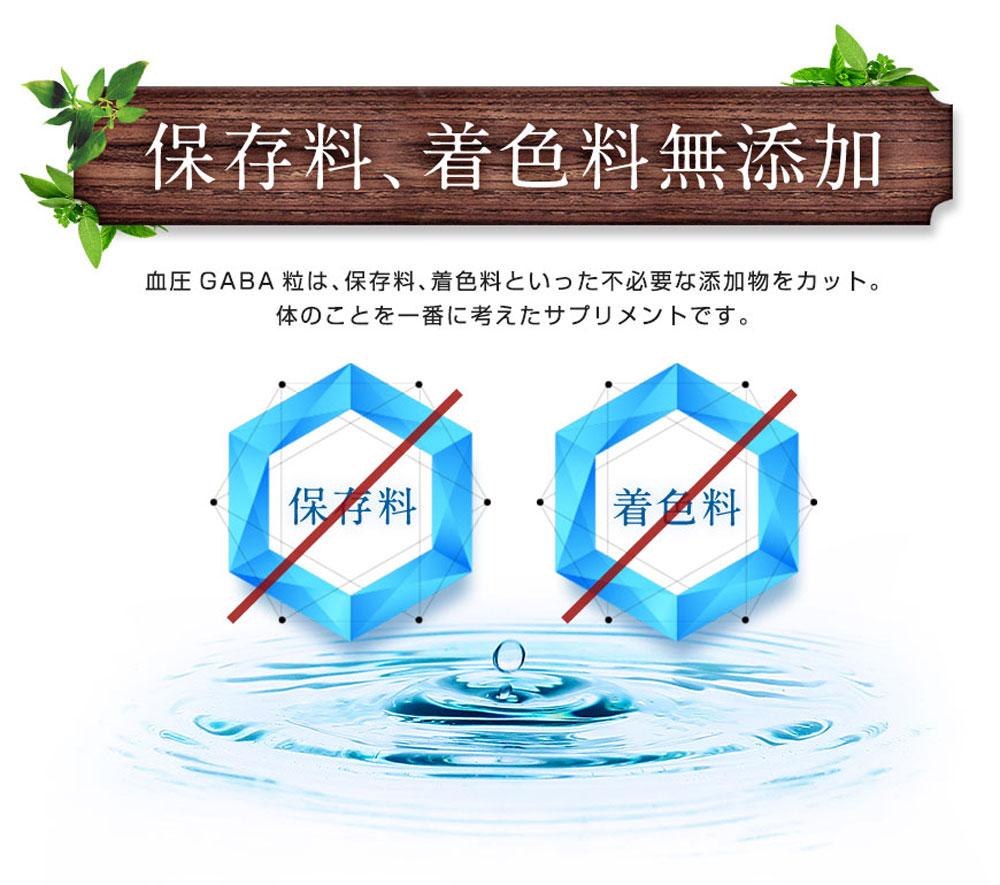 保存料、着色料無添加 血圧GABA粒は、保存料、着色料といった不必要な添加物をカット。体のことを一番に考えたサプリメントです。