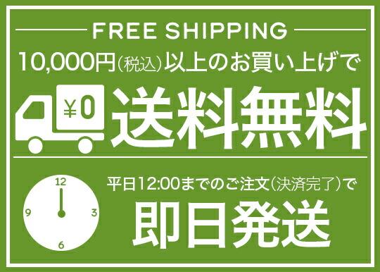 10,000円(税込)以上で送料無料&平日12時までのご注文で即日発送