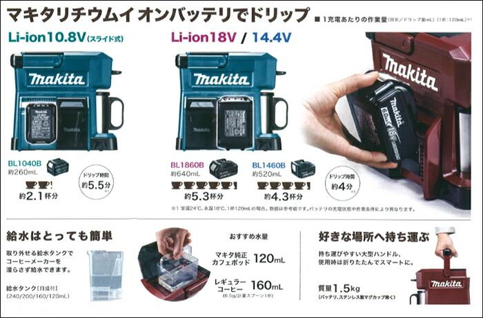 [ CM501DZAR ] マキタ 18V・14.4V・10.8V本体のみ (バッテリ、充電器なし) (オーセンティックレッド) / 充電式コーヒーメーカー